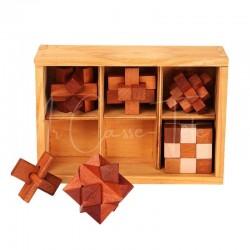Casse-Tête en bois : 6 jeux dans boîte en bois